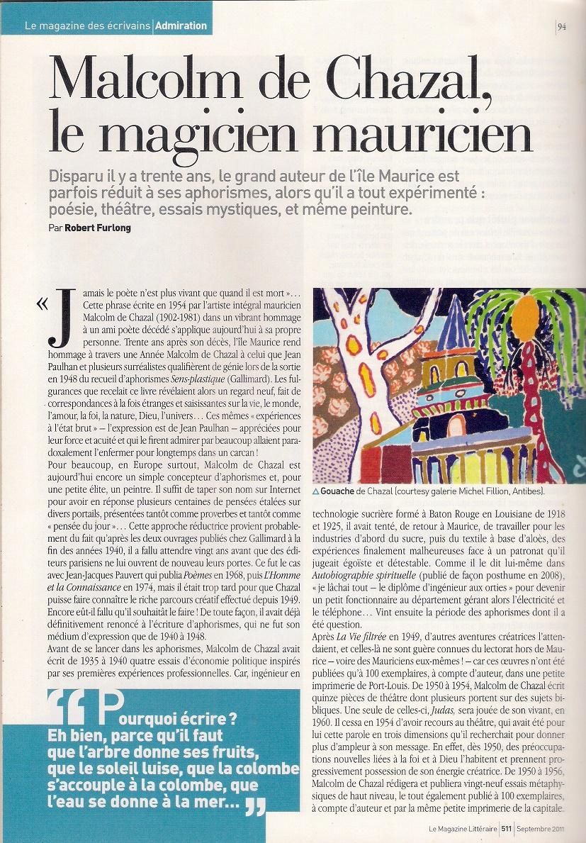Page du Magazine Littéraire — By Robert Furlong