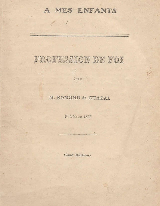 Profession de foi  d'Edmond de Chazal